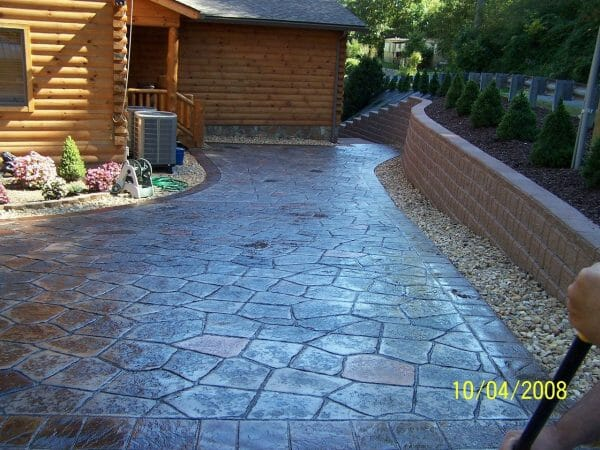 large slate roller border and flagstone stamp