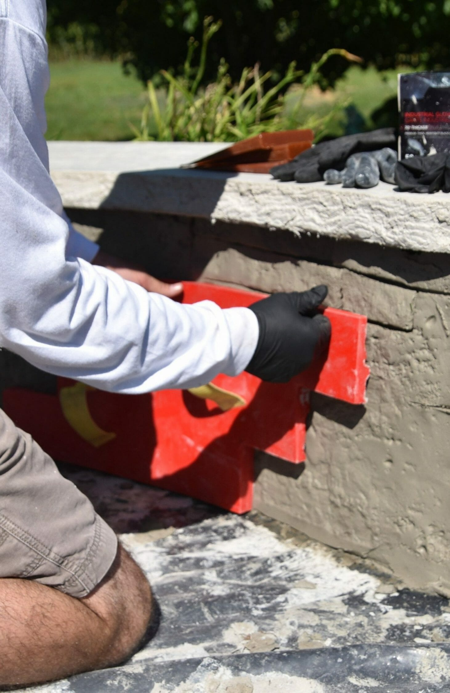 vertical concrete stamping with waltools tightstack stamp