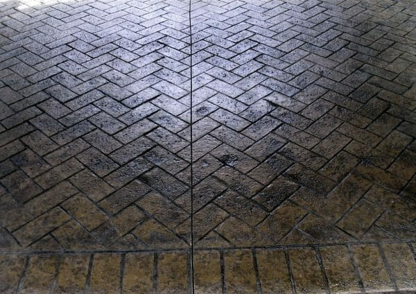 old town herringbone with worn brick border