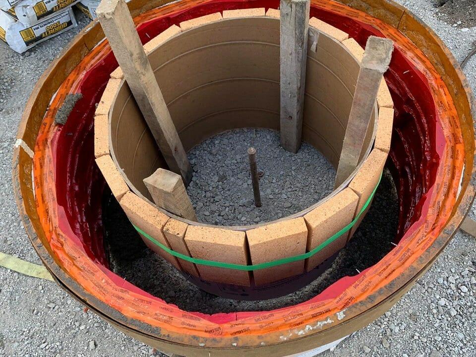 Firebrick in firepit hoosier concrete