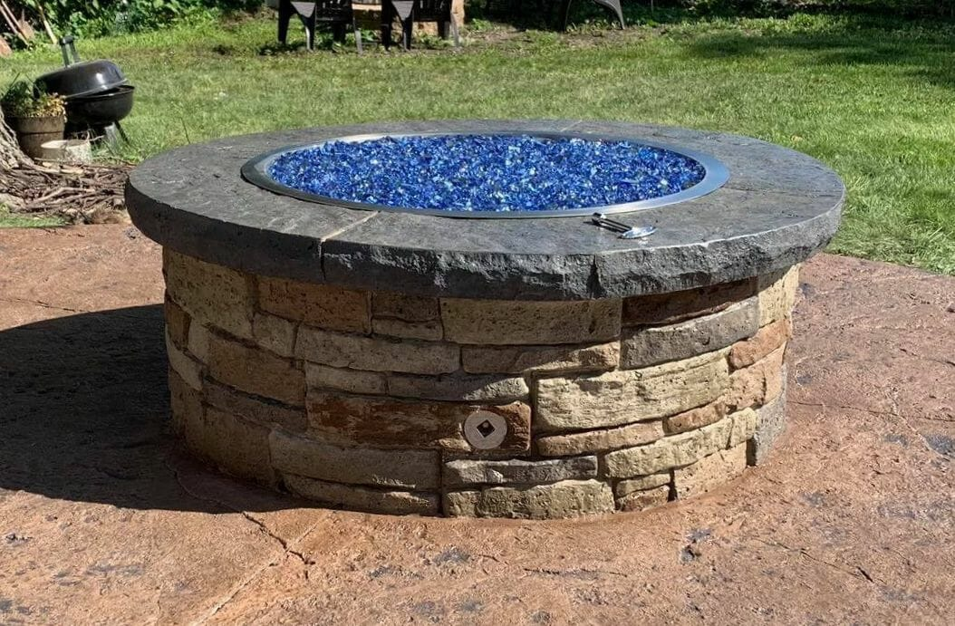 tightstack firepit with blue glass